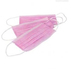 Nitrimax, Маска одноразововая трехслойная, розовая, 50 шт.